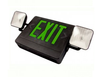 Image of LED Combo Exit/Emergency Light - Single or Double - Green Letters 120V/277V