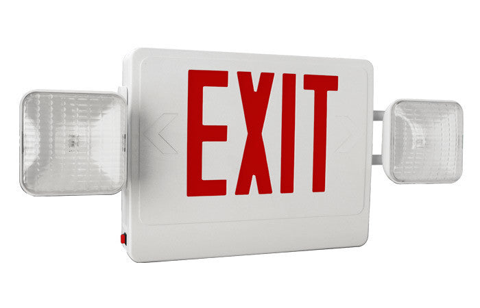 Combo Led Exit/Emergency Light Sgl/Dbl Face Red Letters 120/277v