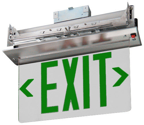 Recessed Edge-Lit Exit Sign, Double Face, Green/Red/Mirror, 120/277V