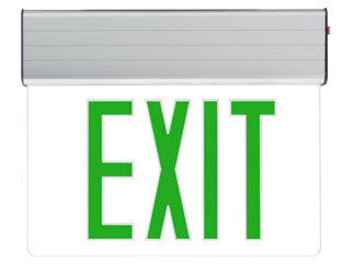 Edge-Lit LED Exit AC Only/Battery Backup Double Green/Red Mirror, 120/277V