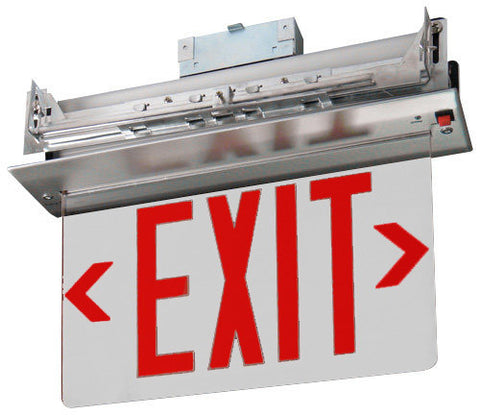 Recessed Edge-Lit Exit Sign Double Face - Green/Red Mirror 120/277 Volt