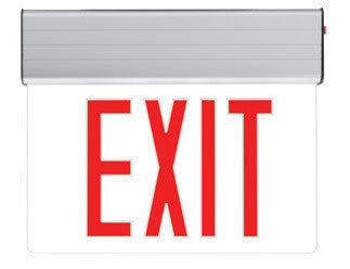 NYC Approved Surface Edge-Lit Exit Sign, Battery Backup/ AC Only, Single Face, Red/Clear, 120/277V