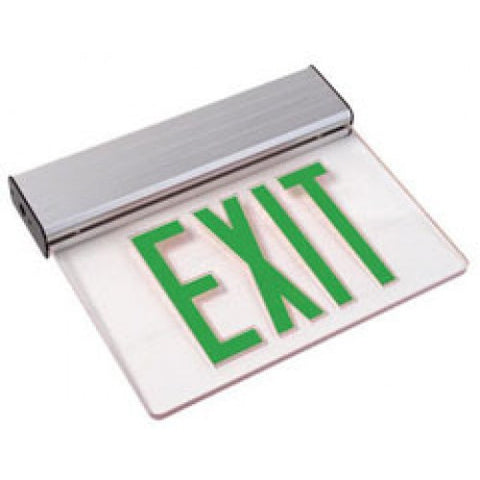 Edge-Lit - Single Sided - Red or Green - Clear LED Exit Sign - 120/277V AC