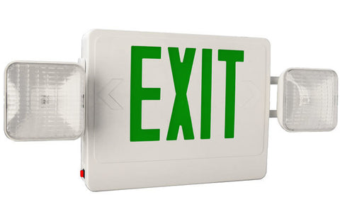 Combo Led Exit/Emergency Light Single Face Green Letters 120/277v