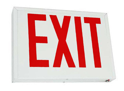 "Exit Sign, Nyc - Red 8"" Letters - White Steel - Ac / Battery Backup"