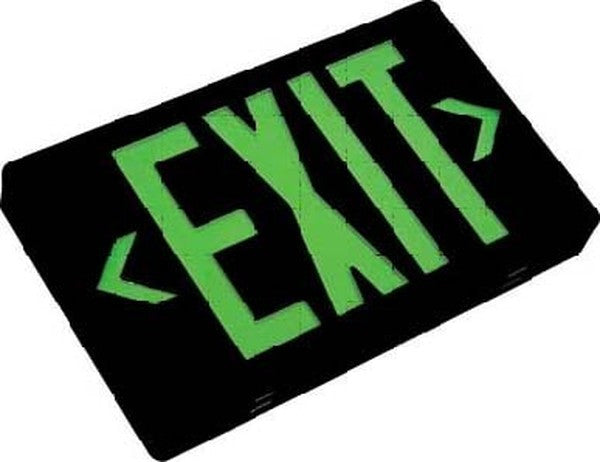 LED Exit AC Only Sgl/Dbl Face Univ. Green Letters 120/277V Black