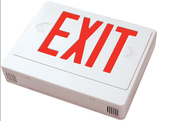 LED Exit w/Battery Backup Sgl/Dbl Face Univ. White Housing, Remote Capable 120/277V Red