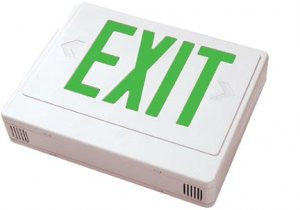 LED Exit w/Battery Backup Sgl/Dbl Face Univ. White Housing, Remote Capable 120/277V Green