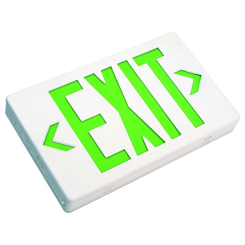 LED Exit Sign Single or Double Face - Green Letters 120/277V AC
