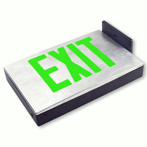 Cast Aluminum LED Exit Sign - Single Faced - Emergency Backup with Canopy - 120/277V