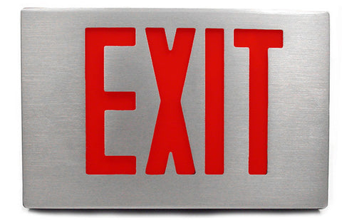 Cast Aluminum LED Exit Sign - Single Faced with canopy - 120/277V