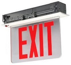 NYC Approved Recessed Edge-Lit Exit Sign, Single Face, Red/Clear, 120/277V