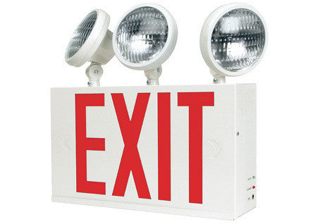 Nyc approved  2/3 head combo exit sign & emergency light,  single face, red letters, 120/277v