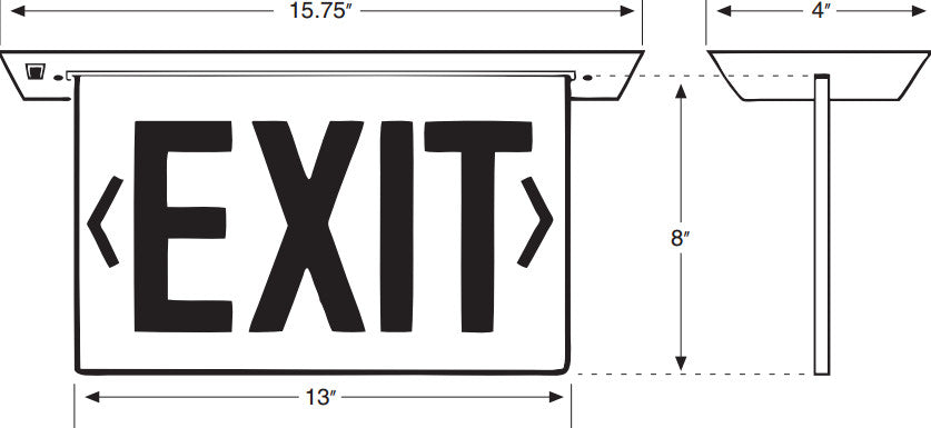 Recessed Edge-Lit Exit Sign - Single Face - Clear - 120/277V - AC