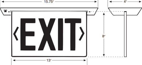 Recessed Edge-Lit Exit Sign - Single Face - Red/Clear - 120/277V