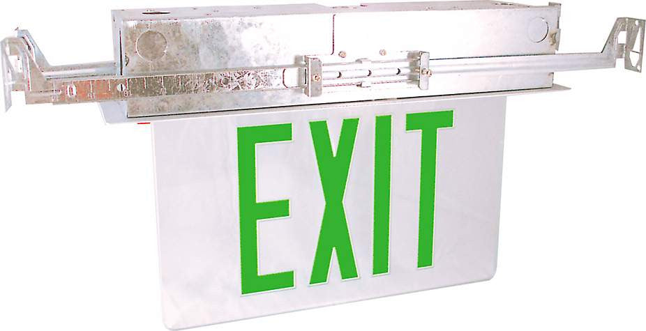 Recessed Edge-Lit Exit Sign - Single Face - Green/Clear - 120/277V
