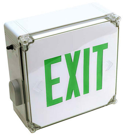 EXIT SIGN, WET LOCATION LISTED - GREEN LED
