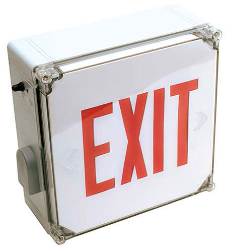 EXIT SIGN, WET LOCATION LISTED - RED LED