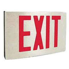 NYC Approved Cast Aluminum LED Exit Sign, Single Face, AC Only/Emergency Backup, with canopy - Red Letters, 120/277V