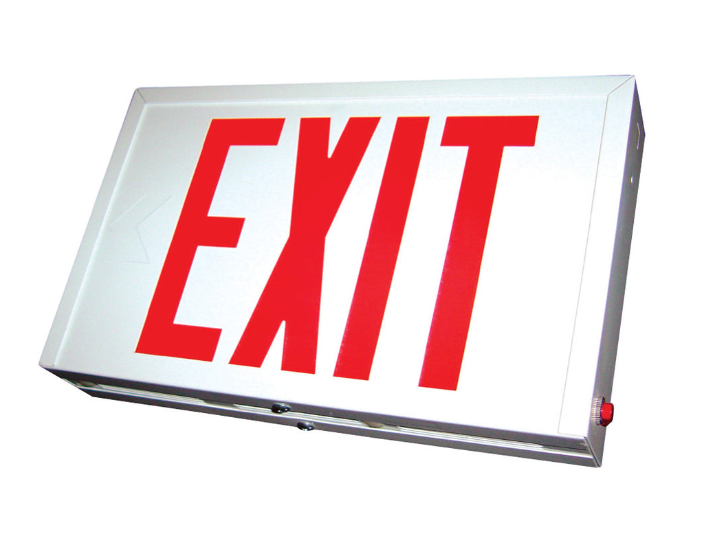 Steel Housing Exit Sign, White or Black Housing, Green/Red Letters, 120/277V