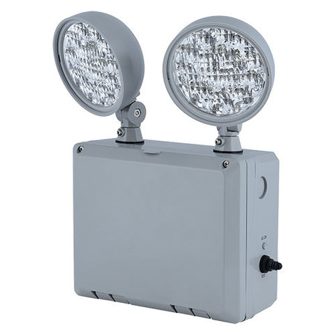 LED Wet Location 2 Head Emergency Light Unit, Cold Weather Heater Included, 120/277v