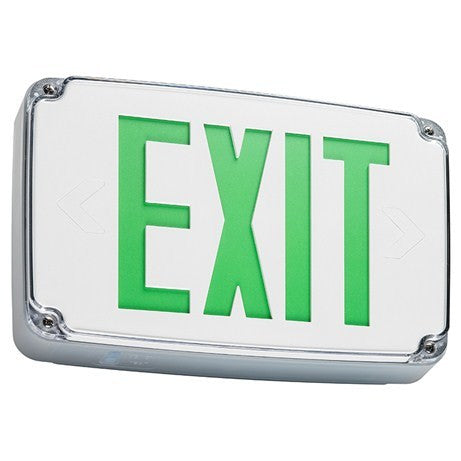 Wet location Exit sign, single face, gray housing, white face plate