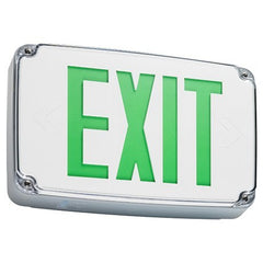 ocation Exit sign, single face, gray housing, white face plate