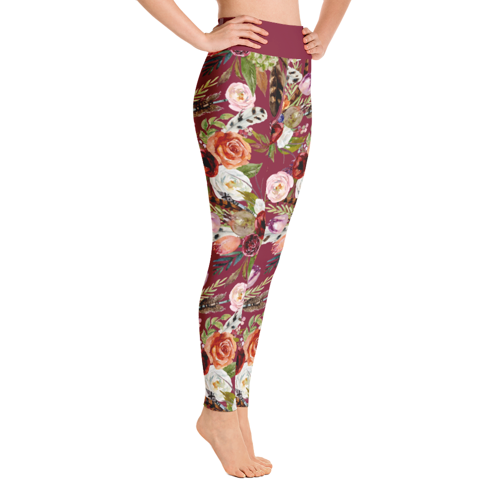 Red Flowers Leggings