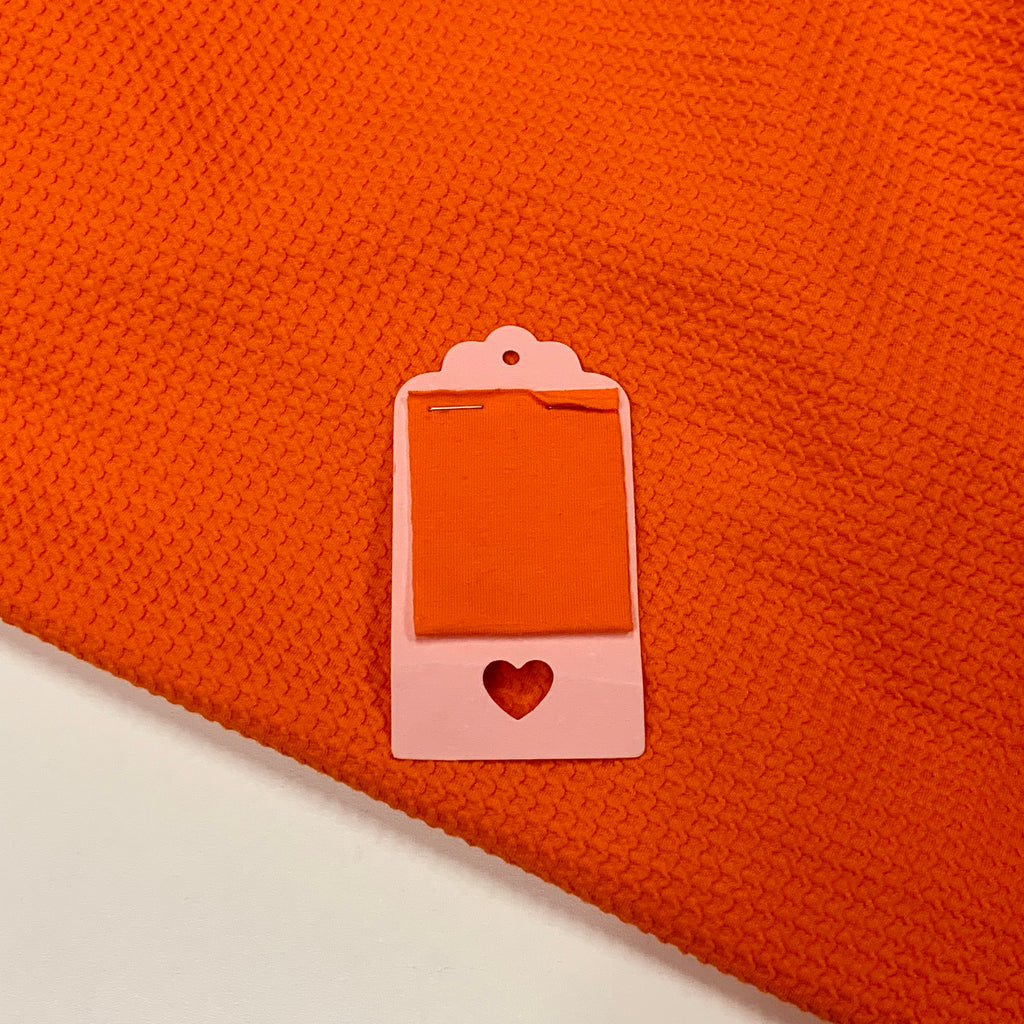 Bright Orange Cotton Lycra Waffle