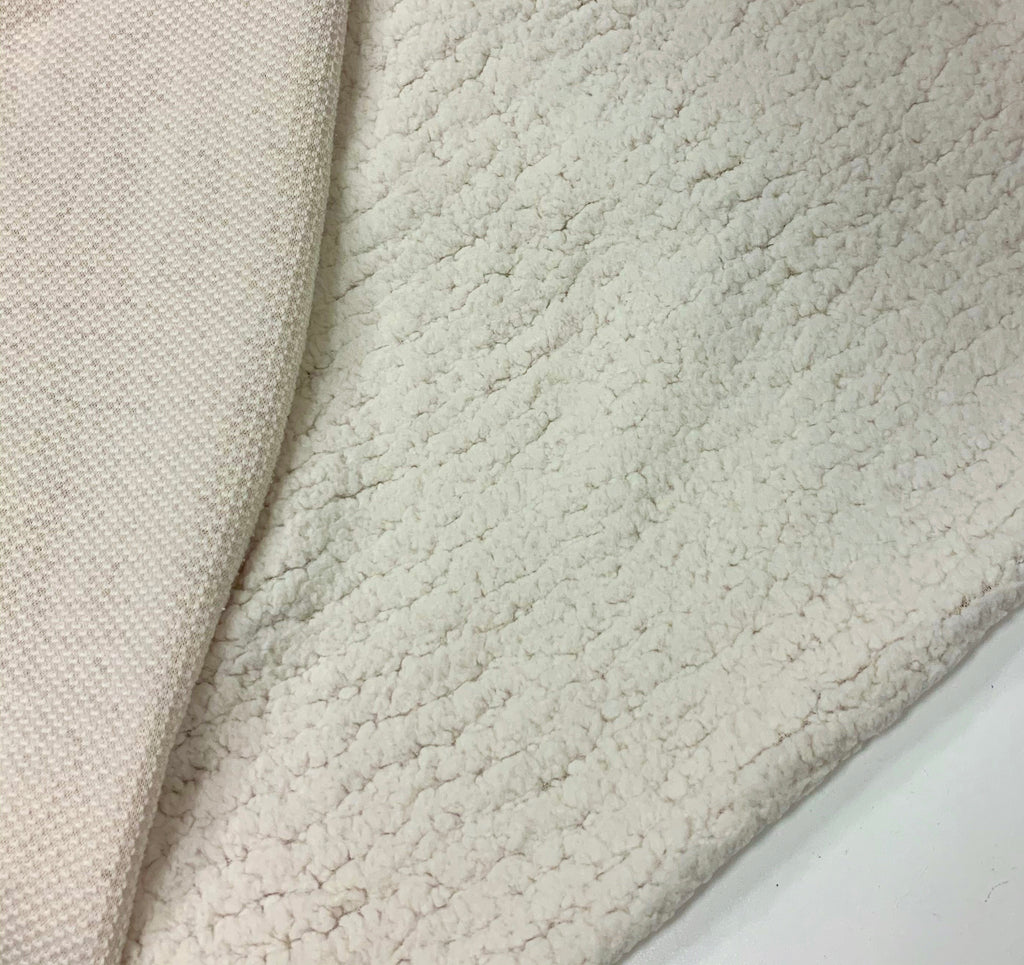 Faux Sherpa Minky with Stretch OFF-WHITE (1M CUTS ONLY)