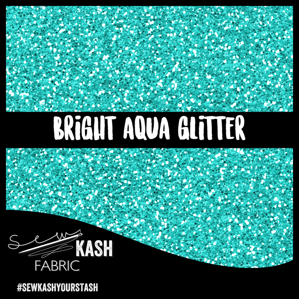 Bright Aqua Faux Glitter (SS) COTTON LYCRA