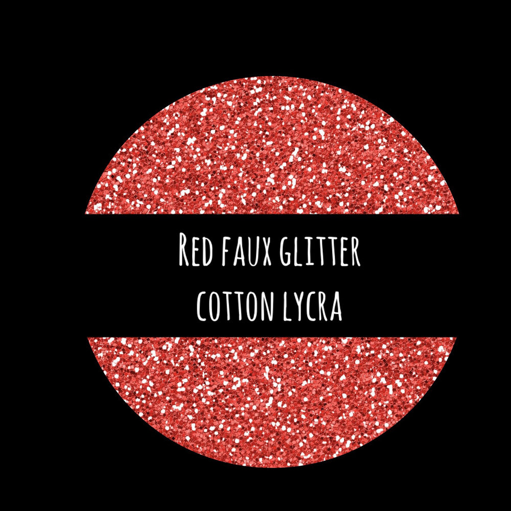 Red Faux Glitter Cotton Lycra