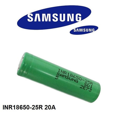 Samsung 18650 25R 2500mAh 20A Battery 2 Pack With Case