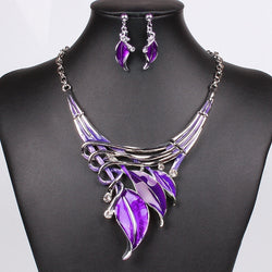 Moda Necklace And Earring Set Crystal Fashion Leaves