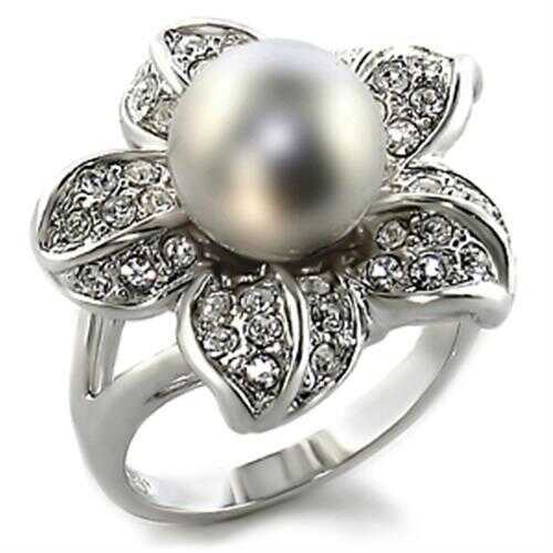 Brass Ring Rhodium Women Synthetic Gray