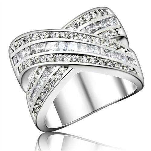 925 Sterling Silver Ring High-Polished Women AAA Grade CZ Clear
