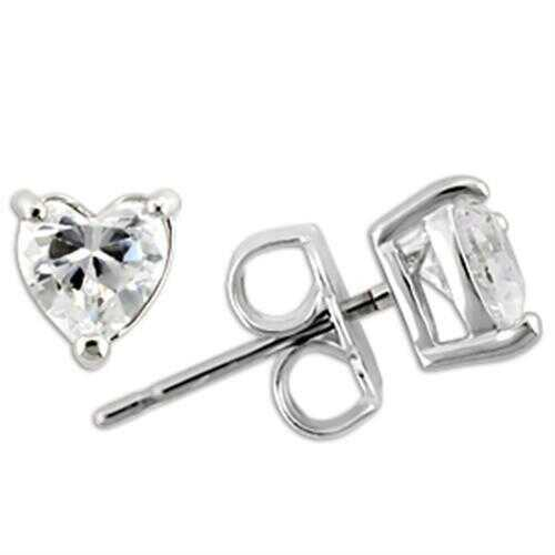 925 Sterling Silver Earrings Rhodium Women AAA Grade CZ Clear
