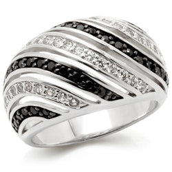 Rhodium + Ruthenium Brass Ring with AAA Grade CZ in Jet