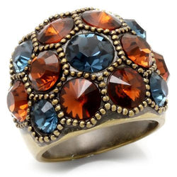 Antique Copper Brass Ring with Top Grade Crystal in Multi Color