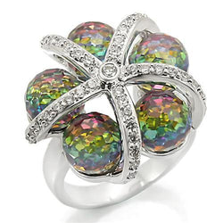 Rhodium Brass Ring with Top Grade Crystal in Multi Color