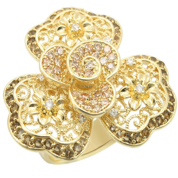 Gold Brass Ring with AAA Grade CZ in Multi Color