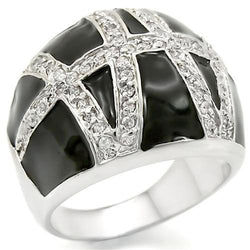 Rhodium Brass Ring with AAA Grade CZ in Clear