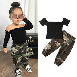 1-6Y Fashion Infant Baby Girls Clothes Sets Short Sleeve Off Shoulder T Shirts Tops+Camouflage Pants 2pcs