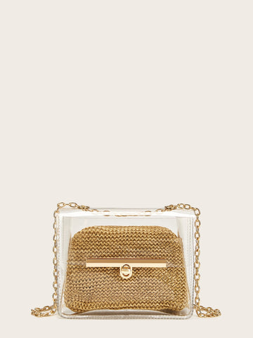 Transparent Chain Strap Crossbody Bag