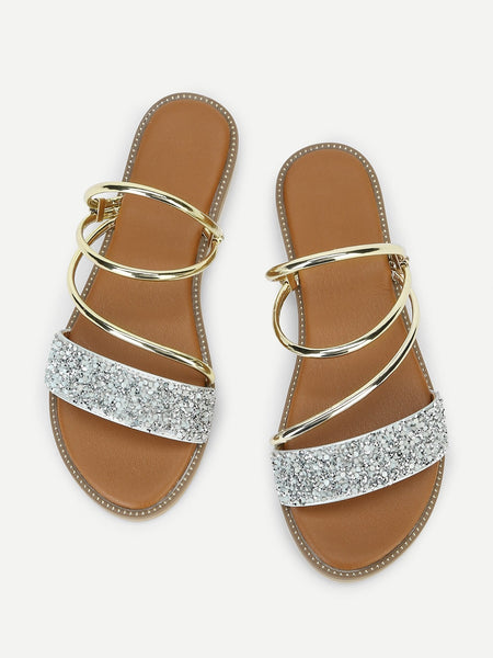 Metallic Convertible Strap Sandals