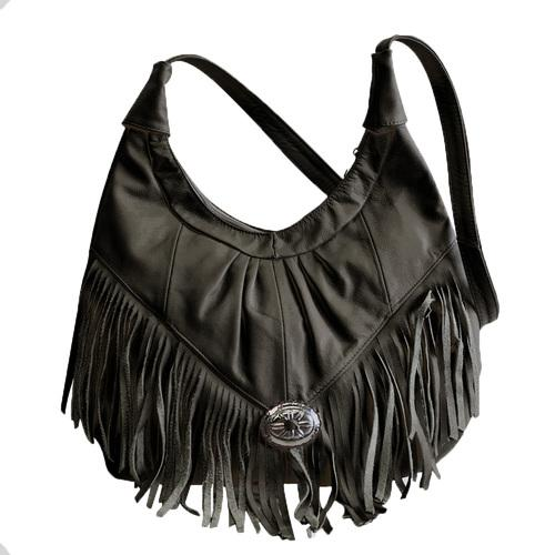 Black Soft Leather Hobo With Fringe