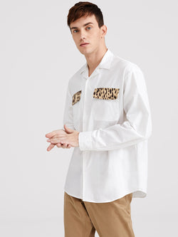 SHEIN Men Leopard Flap Pocket Front Shirt