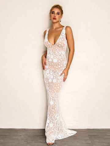 Joyfunear Cluster Sequin Mesh Overlay Plunge Maxi Dress