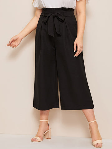 SHEIN Plus Solid Paperbag Waist Belted Wide Leg Pants