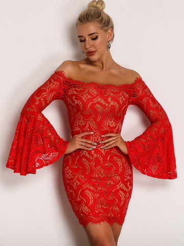 Joyfunear Flounce Sleeve Bardot Lace Bodycon Dress